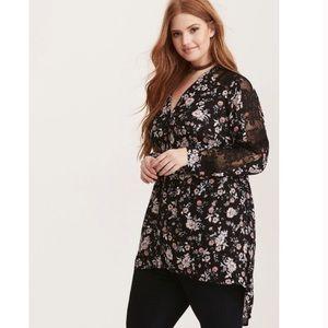 torrid floral print Hi-lo lace tunic size 2x women